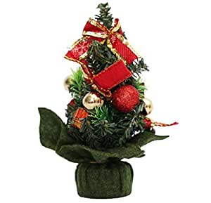 20cm Mini Christmas tree with bow tie decorations Christmas decorations