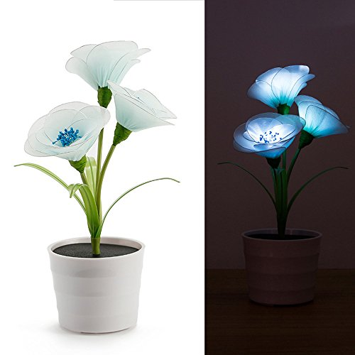 Firalr Solar LED Simulation Flower Artificial Potted Plants Blue Magnolia denudata Silk Flower for Home Office Decoration Indoor Outdoor by Firlar