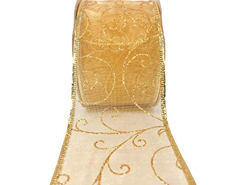 - MSP Gift & Holiday Decorating 2.5 inch x 10 Yards Glittery Gold Wired Ribbons Bundle (4 Gold Pack) (1 Gold Pack)