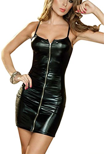 Rozegaga Women Sexy Zipped up Faux Leather Mini Club Party Dress Lingerie XXXX-Large Black -