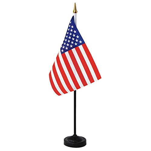 (Anley USA Deluxe Desk Flag Set - 7.5 x 5.5 inch Miniature American US Desktop Flag with 12.5