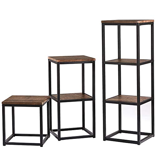 (SUPERJARE Bookshelf, Set of 3, Rustic Bookcase with Metal Frame, Open Display Shelf Unit, Industrial Book Storage Cabinet, Vintage Etagere/Side Table/Plant Stand, Retro Wood Grain, 1-3 Tier)
