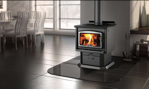Osburn 1600 Wood Stove with Brushed Nickel Door Overlay and Black Pedestal Kit (Osburn Wood Stove)