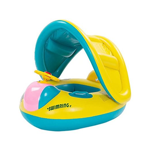 [Swimming Ring with Sunshade Baby Inflatable Pool Floating Toy; Baby Seat Car with Anti-slid Handles Float Seat for 16 Months-36 Months] (The Sims 3 Costume Chest)