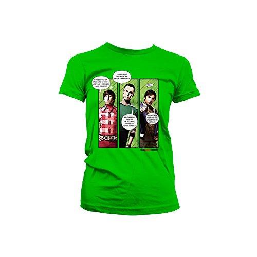何もない書道ハッピーThe Big Bang Theory T Shirt Superhero Quips 公式 レディーズ Skinny Fit グリーン