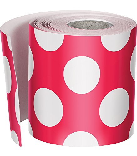 Schoolgirl Style Rolled Straight Borders, Red with Polka Dots (108331)