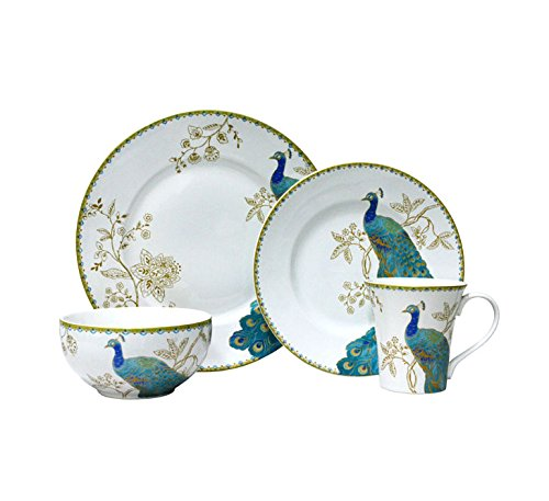 222 Fifth Peacock Garden 16-piece Dinnerware Set, Service for 4 by 222 Fifth (Image #1)
