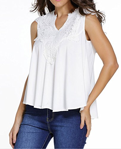 IF FEEL Womens White Embroidered V Neck Paisley Flowy Hem Tank Top Blouse - Size S