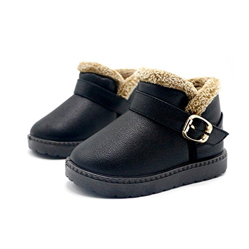 Taiycyxgan Baby Girls Boys Winter Snow Boots Kids Warm Faux Fur Leather Boots Waterproof Shoes Black 21