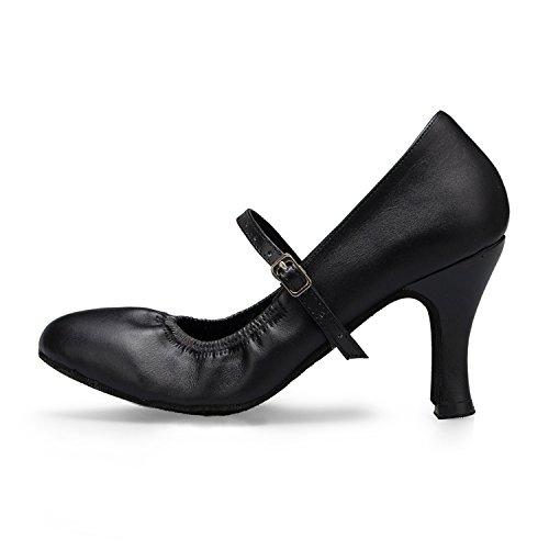 Minishion Mujeres Th142 Mary Jane Salón De Bodas De Cuero Latin Taogo Dance Pumps Zapatos Negro