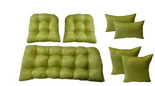 3 Pc Wicker Cushion Set - Woven Twill Mojo Kiwi Green Cushions + 4 FREE Matching Pillows - Indoor / Outdoor Fabric by Resort Spa Home