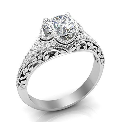 Amazon.com White Gold Vintage Engagement Ring Antique