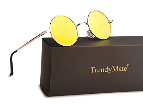 TrendyMate John Lennon Retro Round Polarized Hippie Sunglasses Small Circle Steampunk Sun Glasses (Silver Frame/Yellow Lens)