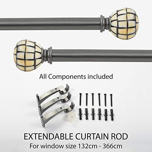 Deco Window Curtain Rod - MOP Curve Iron 25mm Extendable Curtain Rod/Drapery Rod Charcoal (52