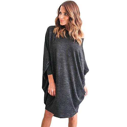 BENNINGCO Womens Heathered Oversize Fit Tunic Dress(Black,M)