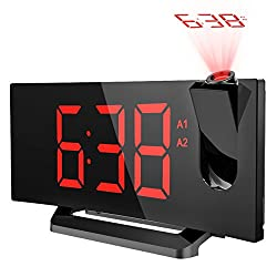 [Update Version]Projection Clock, [Curved-Screen] Atmoko Digital Alarm Clock, FM Clock Radio with USB Charging, Dual Alarm, 5'' LED Display Projected Time on Ceiling, Battery Backup, Red