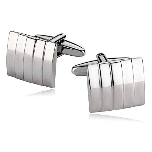 KnSam Stainless Steel Cufflinks for Mens Square Groove Stripe Lines Silver Shirt - Penn Square 10
