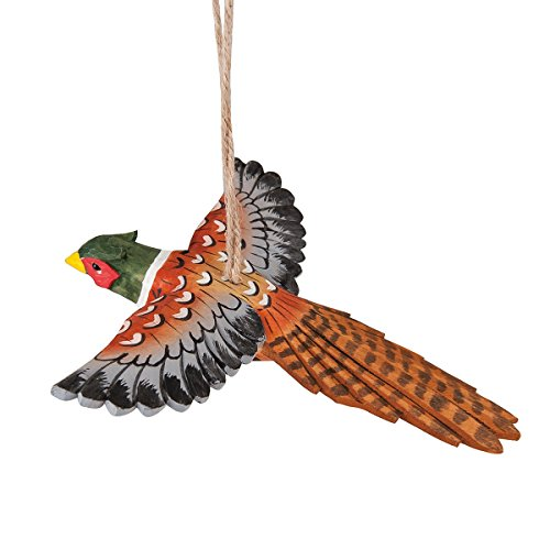 Flying Pheasant Carved Wood Ornament