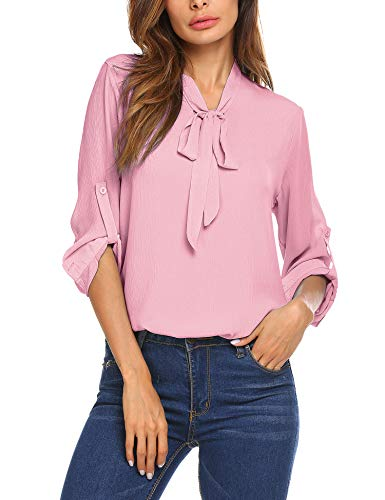 Chiffon Blouse T-Shirt Tops Bow Tie Neck Long Sleeve Patchwork Casual Button Down Shirt