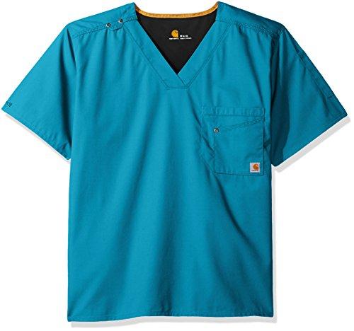 Carhartt Men's Rockwall V-Neck Scrub Top, Teal Blue, (Teal V-neck Scrub)