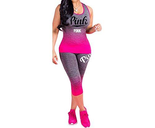 Fashion Suit Trousers - HAOAN Women 2 Piece Pink Letter Print Outfits Round Neck Gradient Color Vest Tank Top Cropped Pants Set Jumpsuits