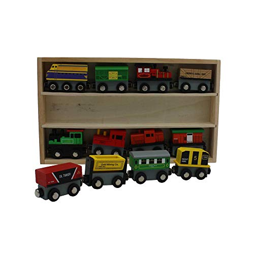 (12 Piece Wooden Toy Train Cars Set Compatible with Other Tracks)