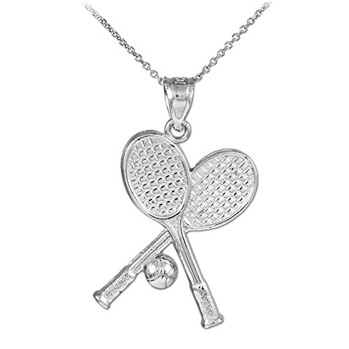 Gold Tennis Racquet - 10k White Gold Tennis Racquets and Ball Sports Pendant Necklace, 22