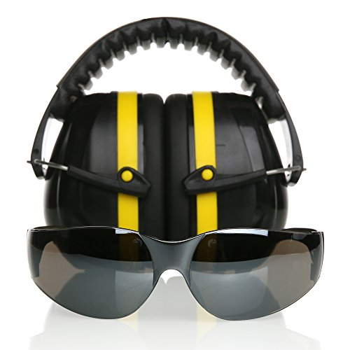 Tradesmart Shooting Earmuffs and Anti Fog, Scratch Resistant Safety Glasses Combo Pack / Kit | Active Noise Filtering Ear Protection For Firearms, Construction, Industrial, Aviation, Hunting & More