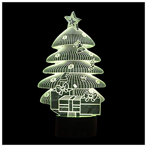 3D Illusion Night Lights 7 Colors Switch Automatically by Smart Touch Button Indoor Lamp Christmas Tree Black+Transparent