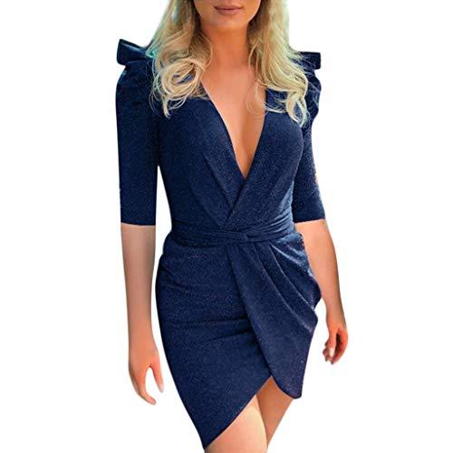 CUTUDE Damen Bandage Kurzarm Kleid Gekräuselt V-Ausschnitt Frauen Kleider Sommer Minikleid Mode 2019 Sexy Babycon Partykleid Abendkleider