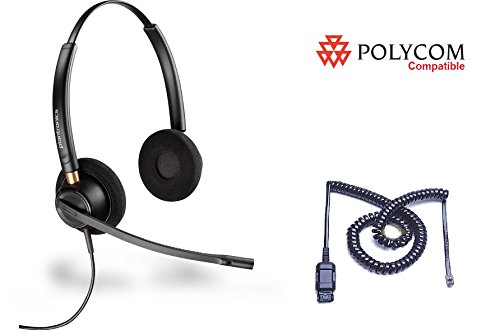 Polycom Compatible Plantronics Noise Canceling HW520 EncorePro 520 Headset Bundle for SoundPoint: IP 300 335 450 501 550 560 600 650 670 | VVX 300 310 400 410 500 600 1500 | CX 300 600 700