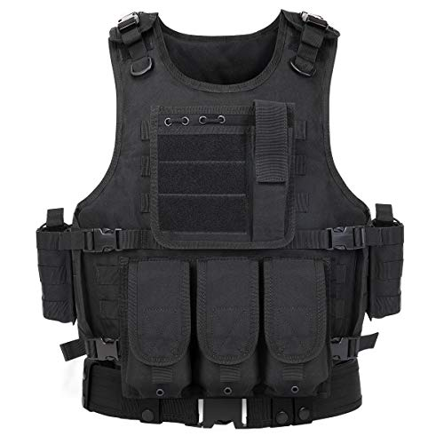 GZ XINXING Black Tactical Airsoft Paintball Vest with Tactical Belt
