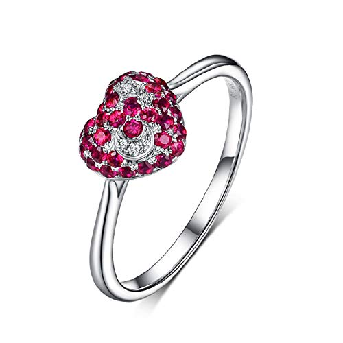 (AMDXD Jewelry 18K White Gold Promise Ring for Women Red Round Ruby Rings 0.38CT Size)