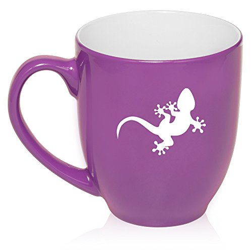 16 oz Large Bistro Mug Ceramic Coffee Tea Glass Cup Gecko Lizard (Purple)
