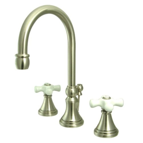Kingston Brass KS2988PX Governor Widespread Lavatory Faucet with Brass Pop-Up and Porcelain Cross Handle, Brushed Nickel - Cross Handle Kitchen