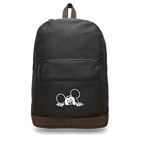 - Mickey Mouse Peeking Canvas Teardrop Backpack with Leather Bottom Accents, Black