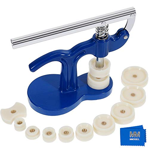 MMOBIEL Pro Watch Back Press Case Closer Glass Fitting Watchmaker Repair Tool Kit. with 12 Snap on Fitting Dies/Moulds