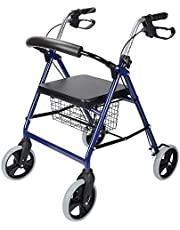 LIVINGbasics Four Wheel Walker Rollator With Fold Up Removable Back Support Comes With Soft Padded Seat