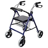 LivingBasics™ Four Wheel Walker Rollator with Fold Up Removable Back Support Comes With