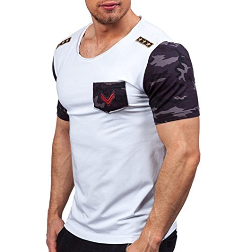 Splicing Design - Pocciol Blouse, Mens Cotton Blend T Shirt Handsome Design Splicing Tees Short Sleeve 2XL Blouse (White, 2XL)