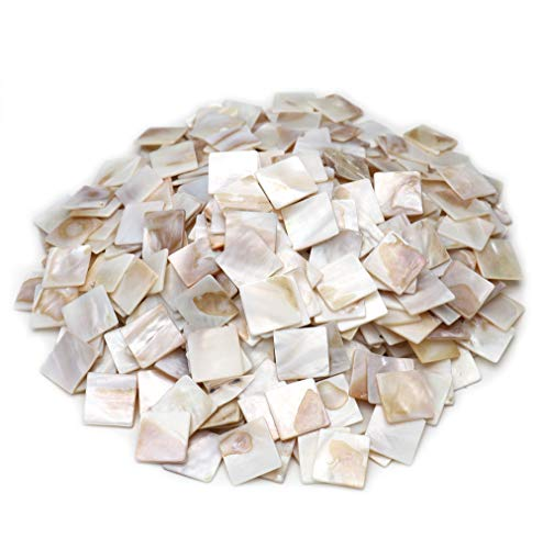 """Tueascallk 1.2 Lbs / 300 Pcs of Natural Mother of Pearl Mosaic Tiles, for Home Decoration and Handmade Crafts, 0.8""""(L) x 0.8""""(W) x 0.065""""(T)"""