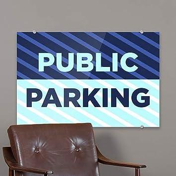 18x12 Public Parking 5-Pack Stripes Blue Premium Brushed Aluminum Sign CGSignLab