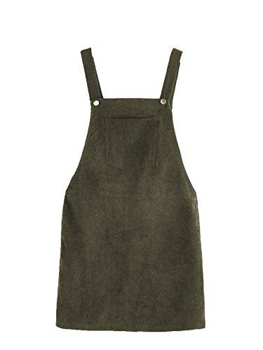 Romwe Women's Straps A-line Corduroy Pinafore Bib Pocket Overall Dress Army Green M