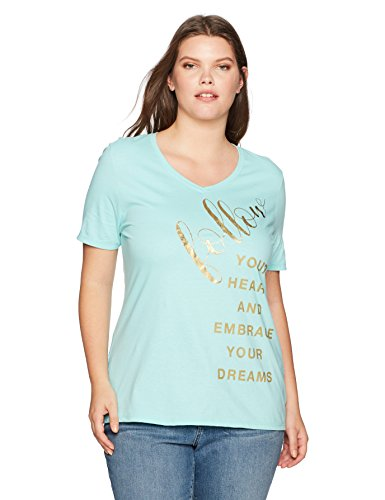 Just My Size Womens Plus Printed Short-Sleeve V-Neck T-Shirt Shirt