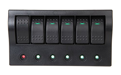 Pactrade Marine Boat RV Waterproof 6 Gang Switch Panel LE...