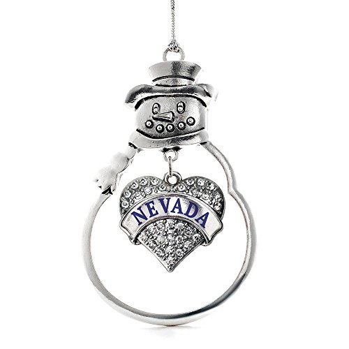 Inspired Silver Nevada Pave Heart Snowman Holiday Christmas Tree Ornament With Crystal Rhinestones (Tone Crystal Christmas Tree)