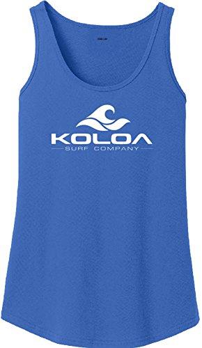 Koloa Surf Co. Ladies Classic Wave Logo Soft Cotton Tank Top-Royal/w-S