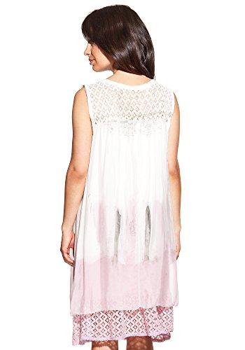 Laura Moretti - Vestido de seda con escote en U y encaje Blanco / Rosa