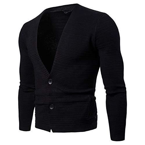 Tricoté Unie De 30 Hommes Pull Tricot Mince Profond Cardigan Pour V Noir Col Manteau Couleur YqwY7U8