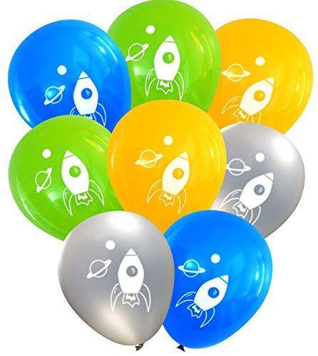 Rocket Ship Space Latex Balloons, 16 pcs (Silver, Lime, Butterscotch, -